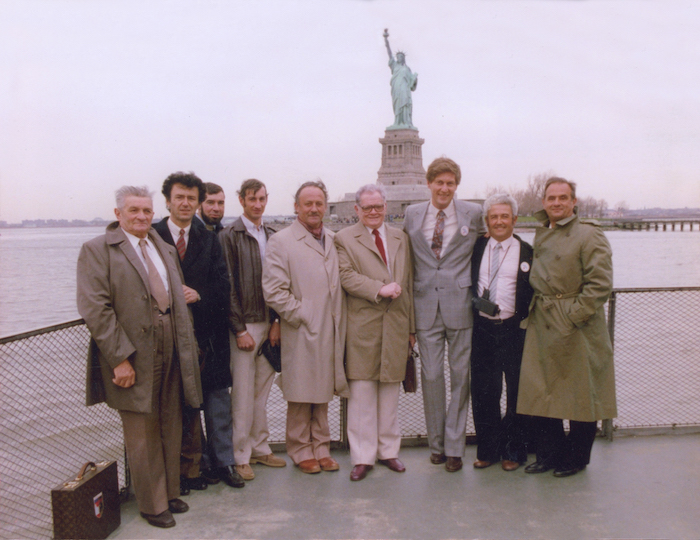 Deutsch Family Wine & Spirits took its first major step when Bill Deutsch (third from right) partnered with then-little known Beaujolais producer Georges Duboeuf in 1982 (pictured, second from left, in New York Harbor with Deutsch and a group of fellow Beaujolais producers). The Deutsch-Duboeuf partnership ultimately put both companies into the big leagues: By 2000 the brand was at more than 1.1 million cases.