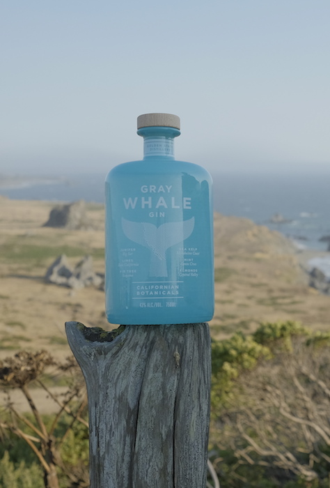 In late 2019, Deutsch partnered with the premium Gray Whale gin (top), a California product that is inspired by the migration of gray whales.