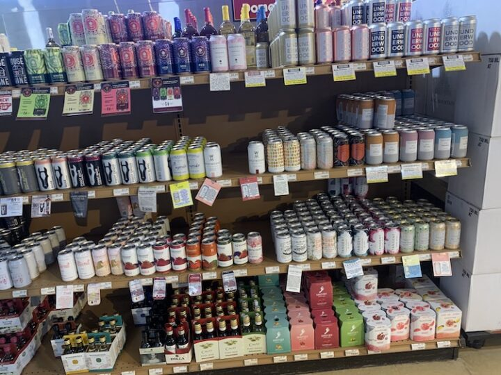 At Wilbur's Total Beverage (canned wine shelves pictured) in Fort Collins, Colorado, canned wine sales more than doubled last year.