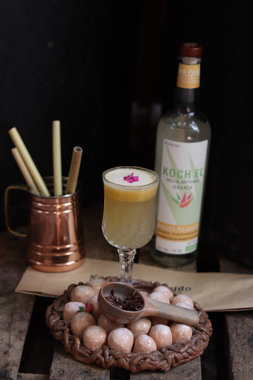 Koch El (La Gallina de Los Huevos de Oro cocktail pictured) partners with 52 families to produce more than 30 expressions that showcase terroir, appealing to those who want more artisan mezcals.