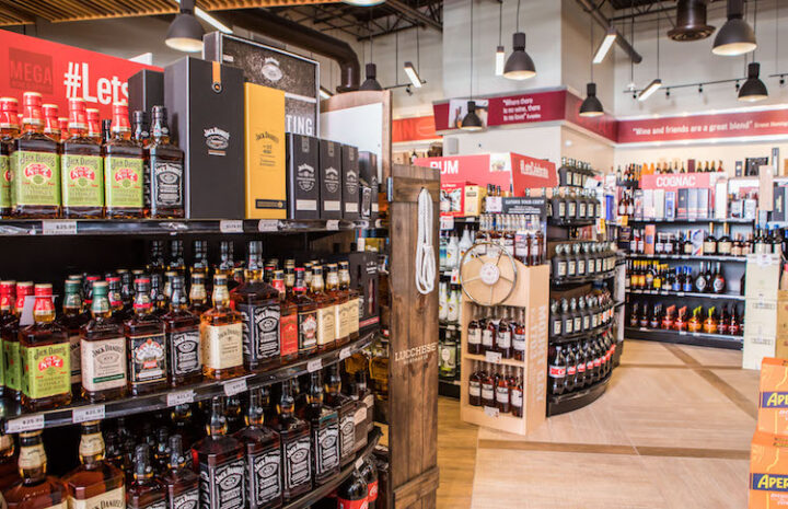 Spirits are the bread and butter of the business at Mega Wine & Spirits, comprising roughly 65% of sales and totaling nearly 2,500 SKUs. Growth is being driven by brown spirits, particularly Bourbon—like Jack Daniel's (shelf pictured) and Woodford Reserve—and Tequila.