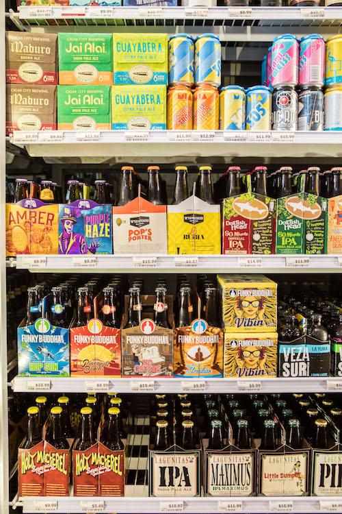 Beer (pictured) remains Mega's smallest category, at just 500 SKUs. Top-selling offerings include Florida-based Cigar City Brewing Co.'s Jai Alai IPA.