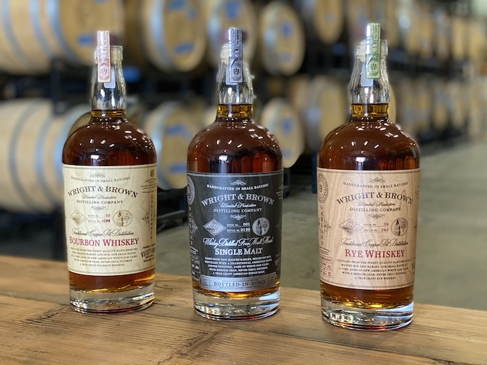 The ability to ship directly to consumers during the Covid-19 pandemic has made a big difference for craft distillers in California such as Wright & Brown (lineup pictured), which focuses on creating small-batch spirits using locally sourced ingredients.