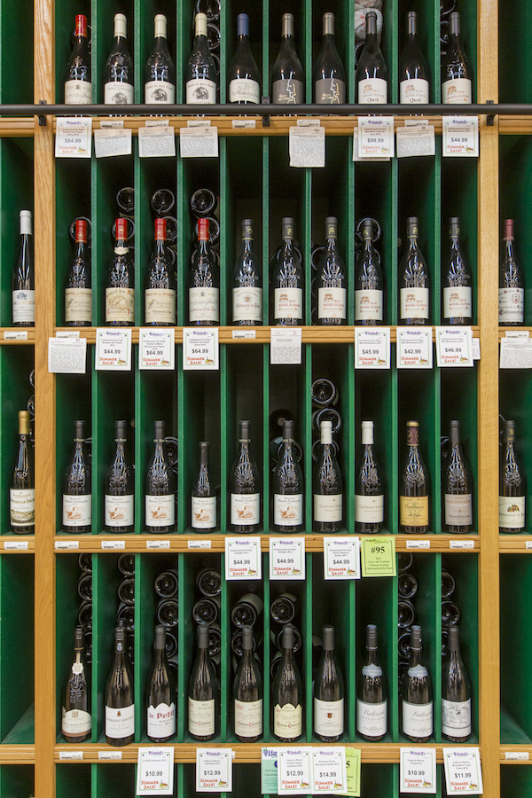 At Haskell's, wine sales (wine wall pictured) remain strong, with popular labels including Lockwood Cabernet Sauvignon and Kendall-Jackson Chardonnay.