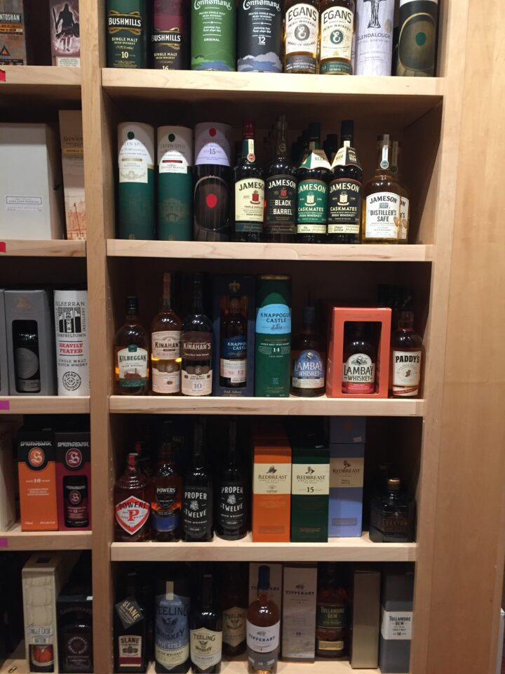 At The Whisky Shop in San Francisco, bestselling Irish whiskey (shelves pictured) include Redbreast 12-year-old, Green Spot, and Jameson.