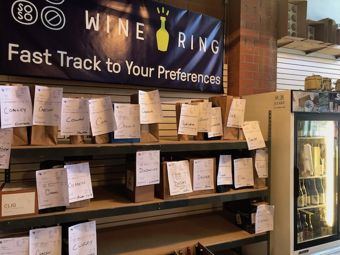 The Wine House in Los Angeles has been closed to foot traffic since last March. Despite this, the store still experienced growth in 2020 as consumers purchased bottles for pick-up via apps like Wine Ring (orders pictured).