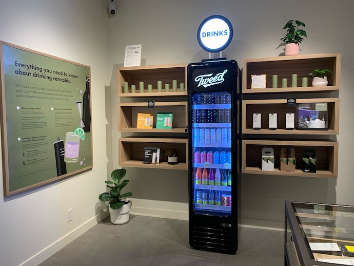 Canada-based Canopy Growth debuted its first cannabis drinks in 2020 under its professional-focused Tweed (cooler pictured) brand, offering Houndstooth & Soda and Bakerstreet & Ginger.