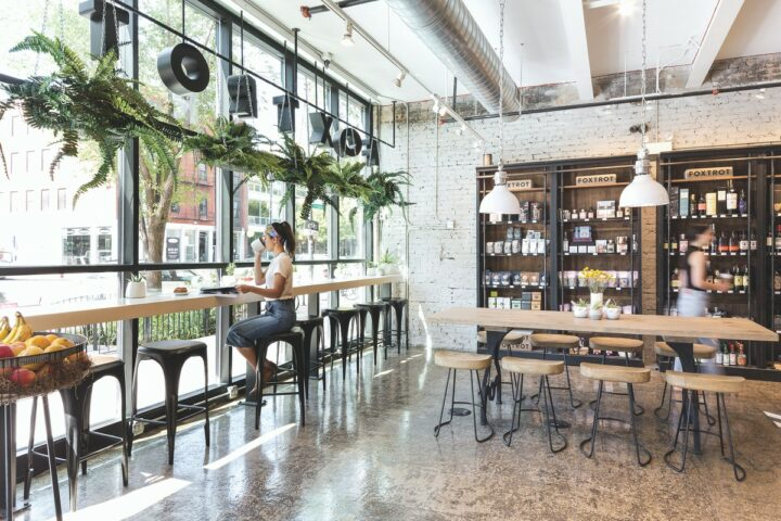 Foxtrot (interior pictured) began in 2016 as a delivery-only, e-commerce concept to sell c-store items to Chicago residents. After opening its first storefront location, the company offered on-premise beer and wine to customers where allowed pre-pandemic.