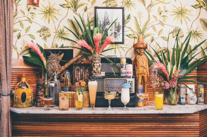 Created by hospitality consulting firm Bar Lab, Broken Shaker serves an array of cocktails (Miami drinks lineup pictured) like the best-selling Coco Puff Old Fashioned.