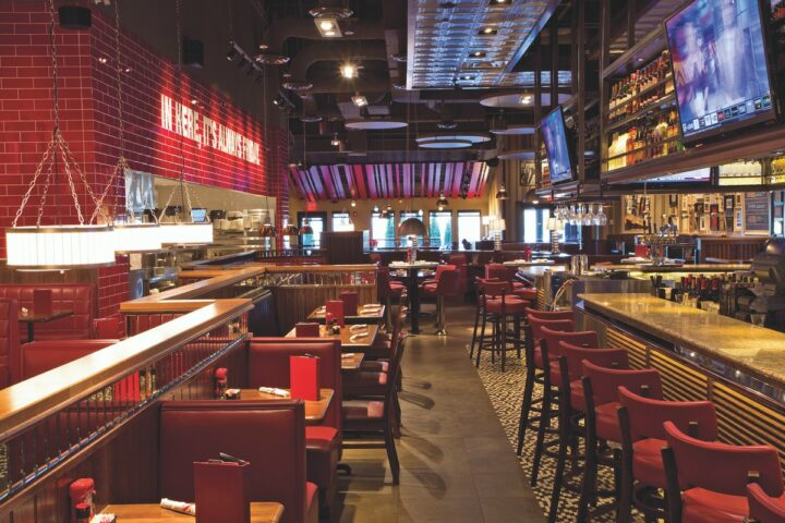 TGI Fridays (Addison, Texas interior pictured) has more than 380 locations in the U.S. and 730 locations globally. Across the chain, drinks sales make up roughly 30% of all revenue.