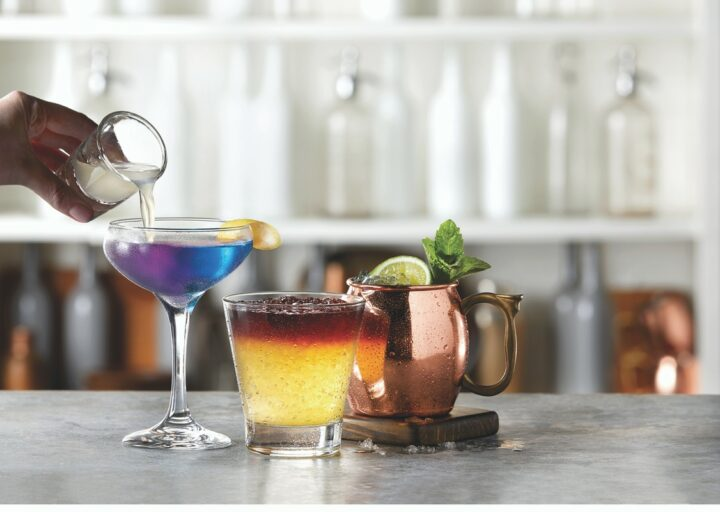 While cocktails, such as the Magic Lemon Drop Martini, New York Sour Crush, and Tito Mule (pictured from left) are the main focus at TGI Fridays, the chain also offers a variety of wine, ranging from La Marca Prosecco to Josh Cellars Cabernet Sauvignon.