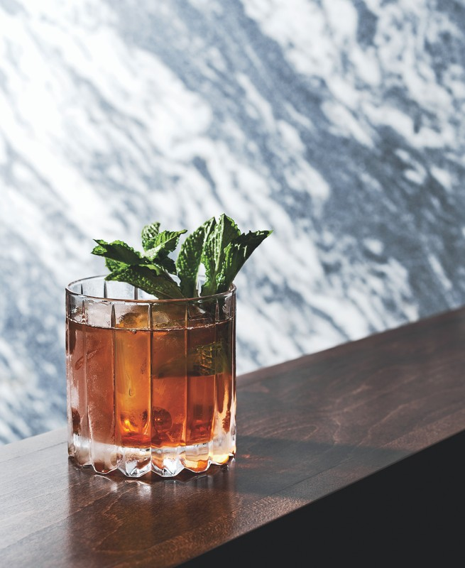 At Empire State South in Atlanta, the Two World Hero (pictured) mixes black tea-infused Prunier VS with Rittenhouse rye whiskey.