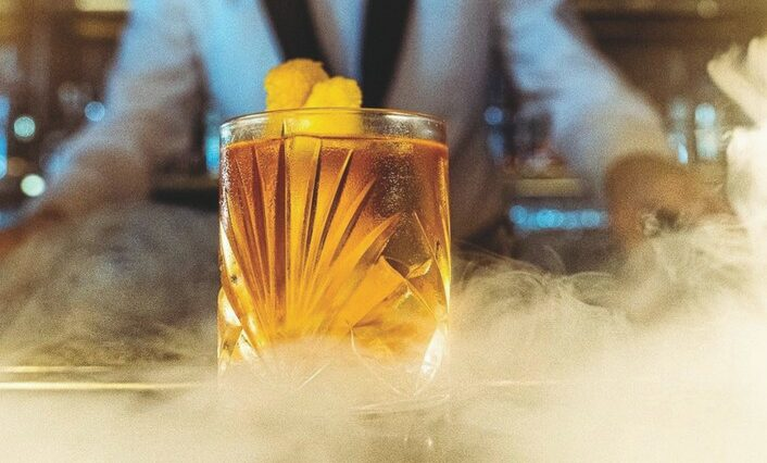 At Born and Raised steak house in San Diego, the Born And Raised Old Fashioned (pictured) is made with Pierre Ferrand Ambre VSOP Cognac.