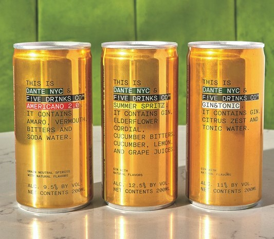 To stand out in a crowded category, Five Drinks Co. (Dante NYC partnership lineup pictured) adds a twist to its canned offerings, such as including tamarind in its Moscow Mule and hibiscus and habanero agave nectar in its Margarita.
