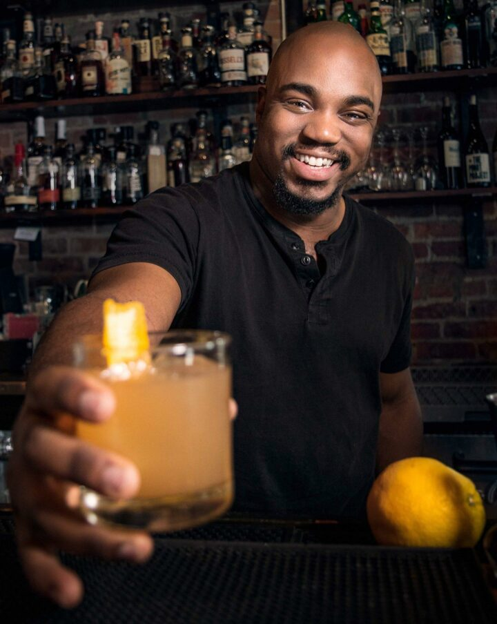 Sharfiq Cosby (pictured) of Revival 1869 in Clayton, North Carolina, devised the Vital Roots cocktail, a play on the original Mint Julep invented by John Dabney, who was renowned for his culinary talents as an enslaved man in 19th-century Virginia.