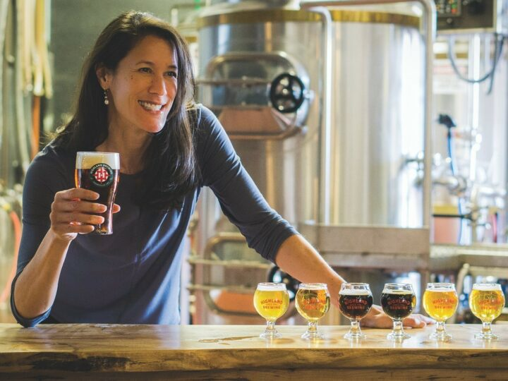 The taproom at Highland Brewing (president and CEO Leah Wong Ashburn pictured) in Asheville, North Carolina was closed for a full year, and the brewery's draft sales for other on-premise venues dropped dramatically last year.