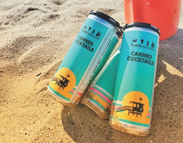 To combat lost sales from Covid-19 closures, Playa Provisions in Playa Del Ray, California offers batched cocktails in cans (pictured) and bottles for guests to purchase to-go.