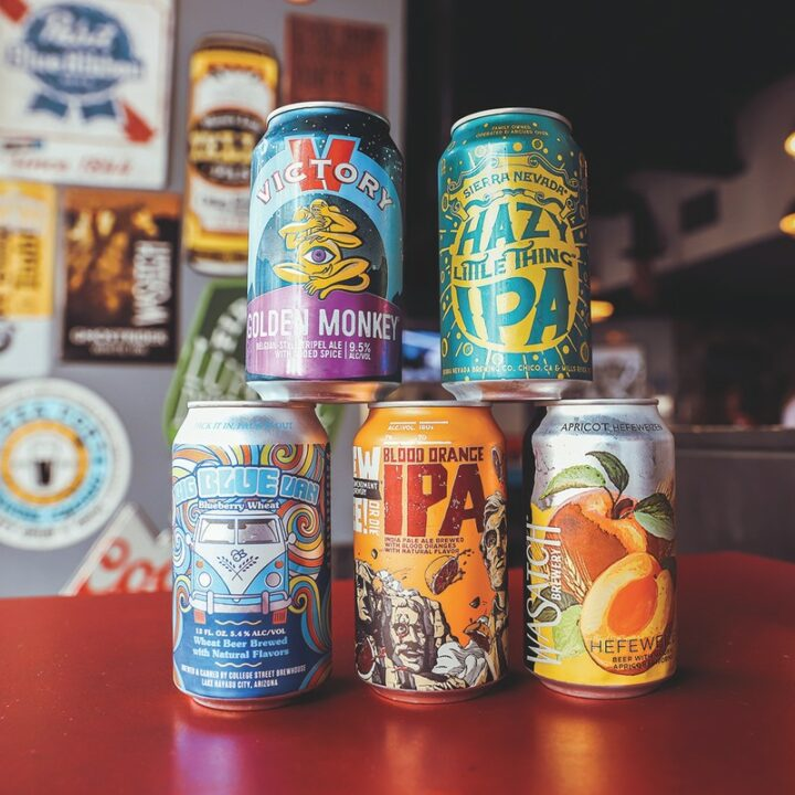 On the Las Vegas Strip, bar AmeriCan typically offers between 70 and 80 different canned beer options (selection pictured), with the hope of showcasing offerings from as many states as possible.