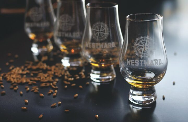 Portland, Oregon-based Westward Whiskey (Glencairn glasses pictured) uses locally malted barley in all of its whiskies among them its flagship American single malt.