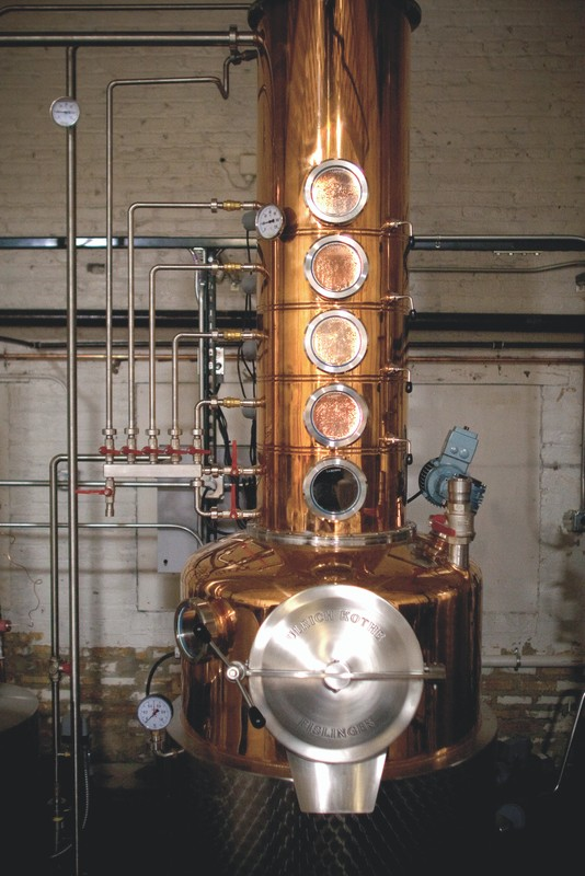 F.E.W. Spirits (still pictured) in Chicago uses cherry wood-smoked malt for its American single malt.