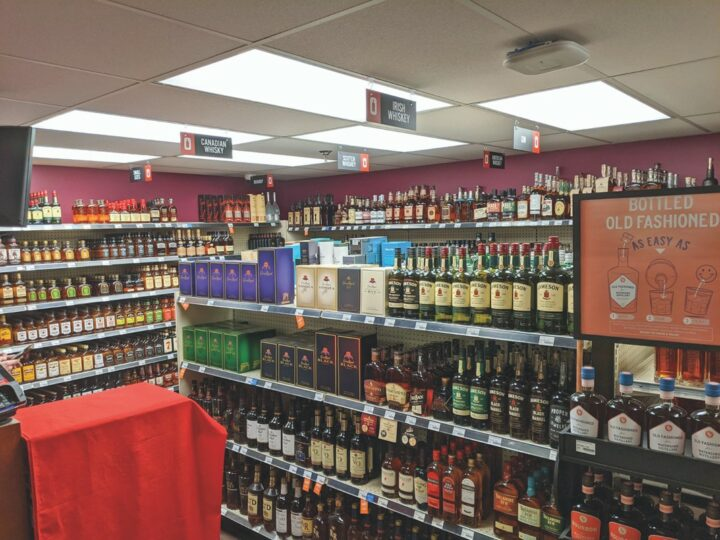 The Ohio Division for Liquor Control (Irish whiskey shelves top) saw spirits sales grow nearly 10% in 2020.