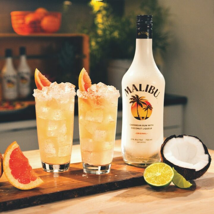 Up 23% year-to-date, Malibu (Paloma cocktail pictured) has leaned into innovation, launching its Splash RTD range and a Strawberry rum last year.