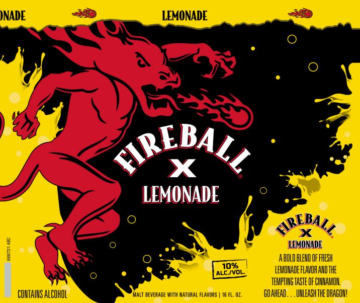 Sazerac Co.'s Fireball brand is launching Fireball X Lemonade (label render pictured) in Pennsylvania this fall.