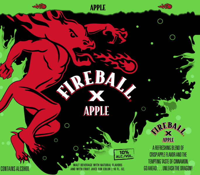 Fireball X Apple (label render pictured) will also debut in Pennsylvania this fall. Both malt-based beverages are 10% abv.
