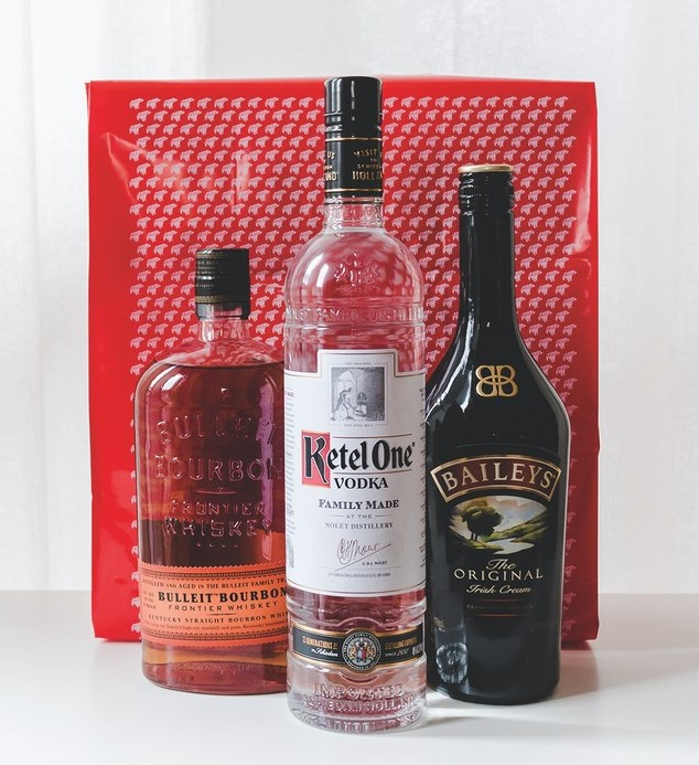 Spirits comprised 41% of sales last year on the Drizly platform. Bourbon, Tequila, and liqueurs (bottles pictured) were top sellers on the app, along with canned cocktails.