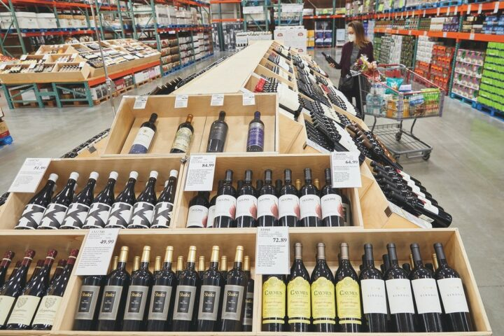 Of the $5 billion in global revenue from beverage alcohol last year, wine (aisle pictured) made up 50% of sales. Costco's proprietary Kirkland Signature wines were top sellers for the company last year, with Kirkland Signature DOCG Prosecco and Kirkland Signature Ti Point Sauvignon Blanc the most popular among consumers.