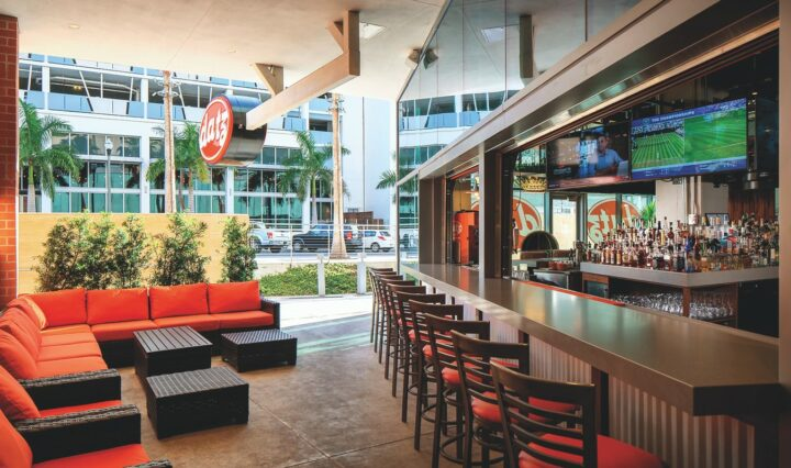 Founded in 2009 by Suzanne and Roger Perry, Datz Restaurant Group operates seven concepts throughout the Tampa Bay, Florida area: Datz (St. Petersburg unit pictured), Dr. BBQ, Burnt Ends tiki bar, Donovan's Meatery, Dough, Cluck Yeah, and Bougie Pizza.