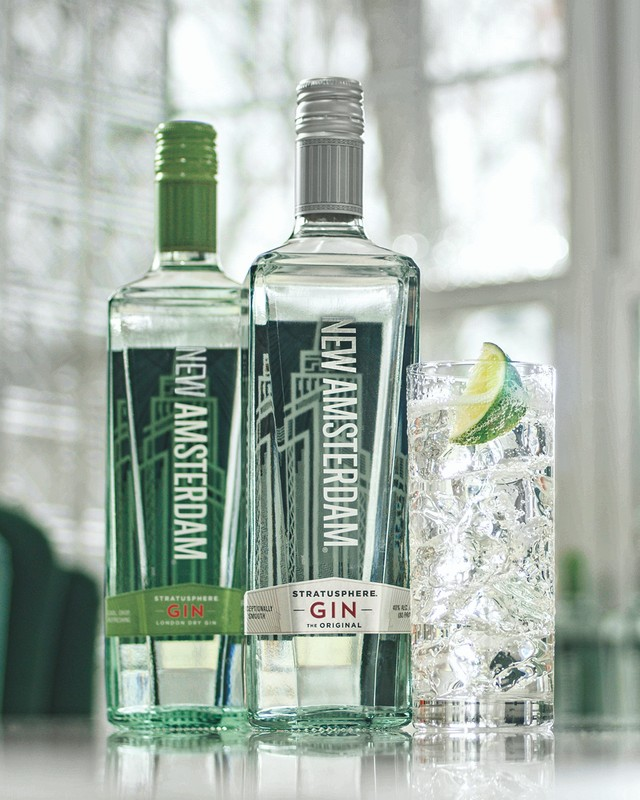 E. & J. Gallo's New Amsterdam gin (pictured) quickly pivoted to e-commerce last year, and saw consumers increased sales among 750-ml. and 1.75-liter packages.