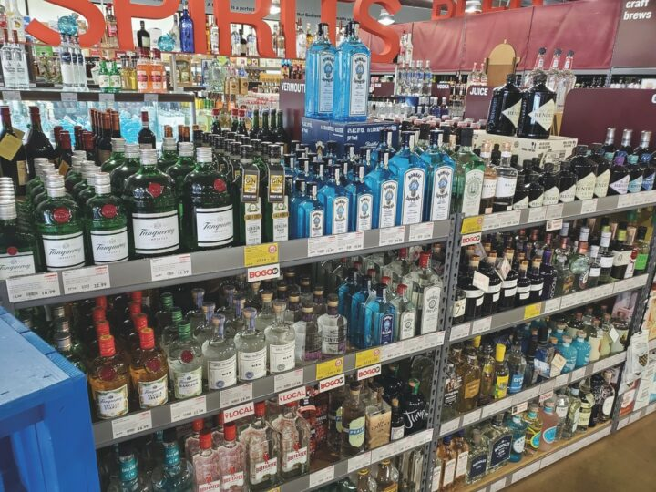 At California-based BevMo, the gin category (Burbank, California shelves pictured) grew steadily in 2020, particularly for brands priced more than $25 a 750-ml., such as Hendrick's and Bombay Sapphire.