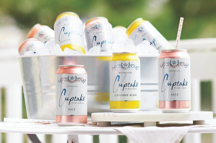 In addition to focusing on innovations like canned wine (pictured), Cupcake Vineyards is tapping into trends with its recent introductions of LightHearted rosé, a low-alcohol and low-calorie offering, as well as its rosé Prosecco.