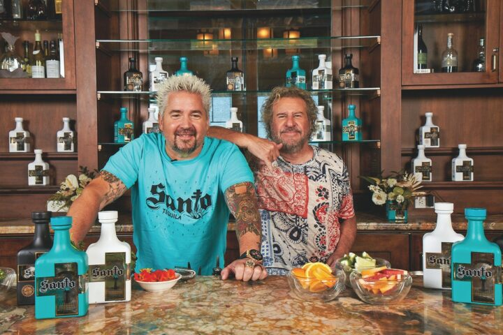 Co-founded by Guy Fieri and Sammy Hagar (pictured), Santo launched in 2017 with its Tequila-mezcal hybrid Mezquila and has since added Blanco and Reposado Tequila expressions.