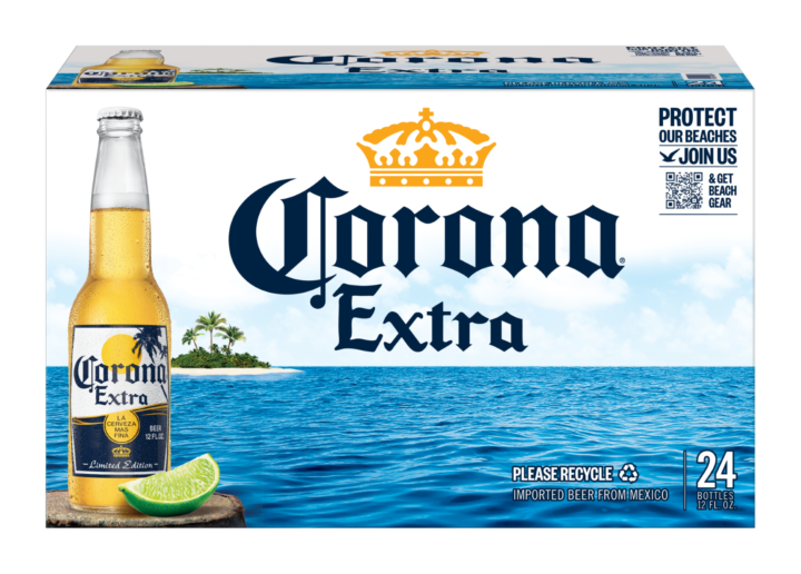 """This summer, Constellation Brands' Corona Extra (pictured) is highlighting the """"Protect Our Beaches"""" campaign via limited-edition secondary packaging."""