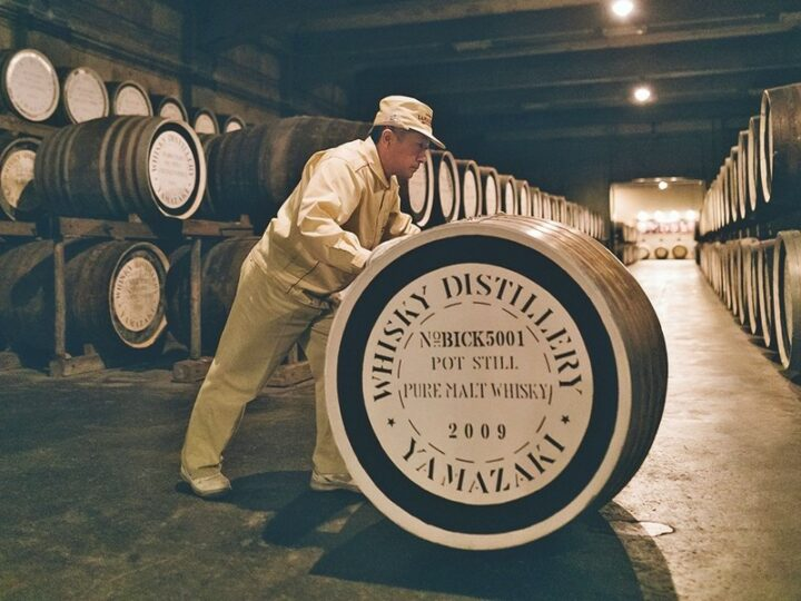 The Yamazaki Single Malt range of whiskies (barrel room pictured) continues to be highly sought-after despite supply constraints.