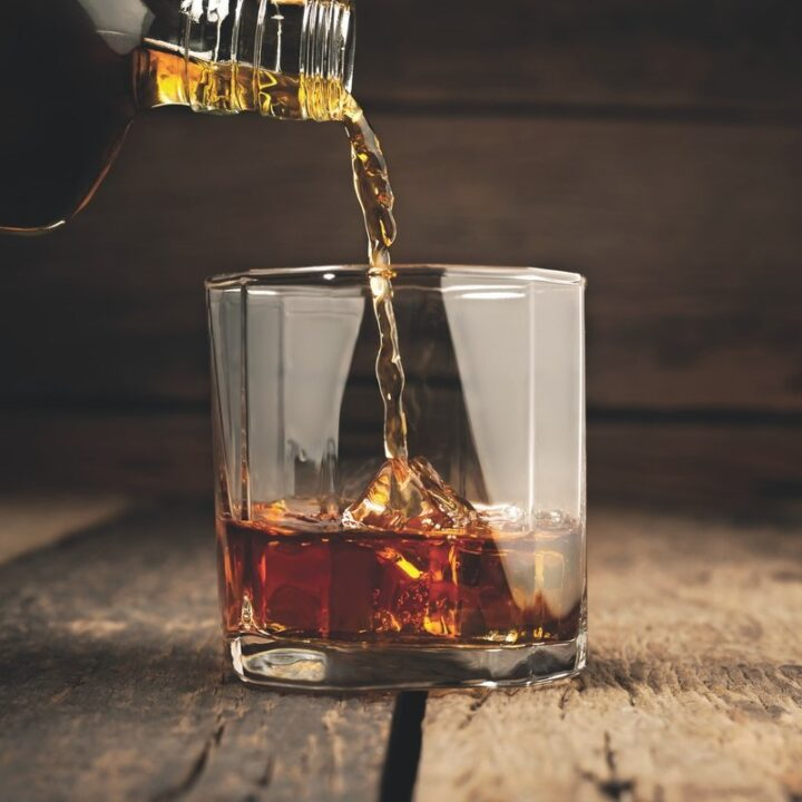 Even without the benefit of the on-premise last year (bar pour pictured), higher-end Bourbon products as well as innovations have seen major progress.