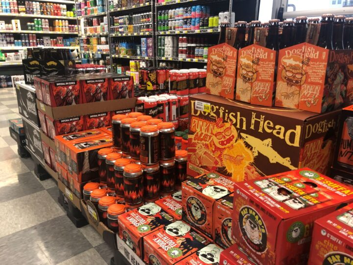 Oktoberfest and pumpkin beer sales have increased off-premise in recent years (Weiland's Market display pictured).