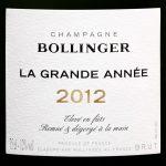 Label for Bollinger La Grande Année Brut Champagne 2012