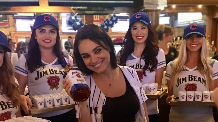 Mila Kunis Unveils Jim Beam Chicago Cubs Bottle