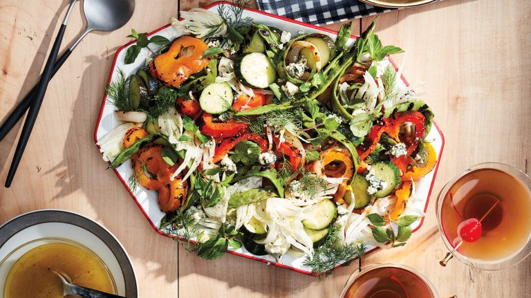 Whiskey Grilled Vidalia, Sweet Pepper, and Blue Cheese Salad