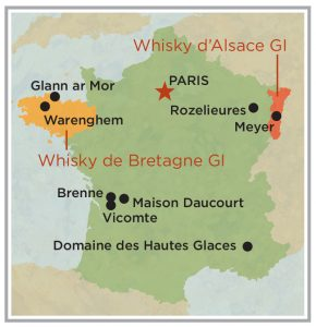 A map of whisky geographical indications regions in France, Brittany and Alsace.