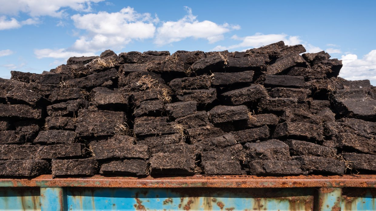 stacks of cut peat