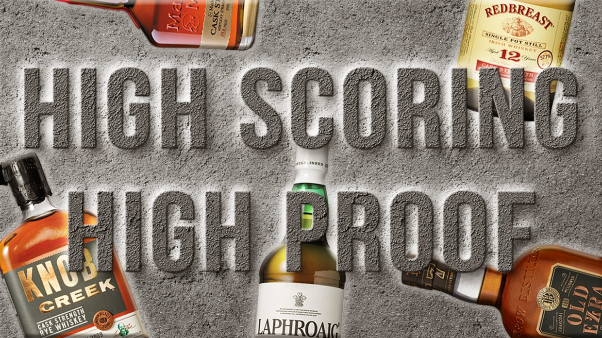"Whiskey bottles with the text ""High Scoring High Proof"" overlaid on top"