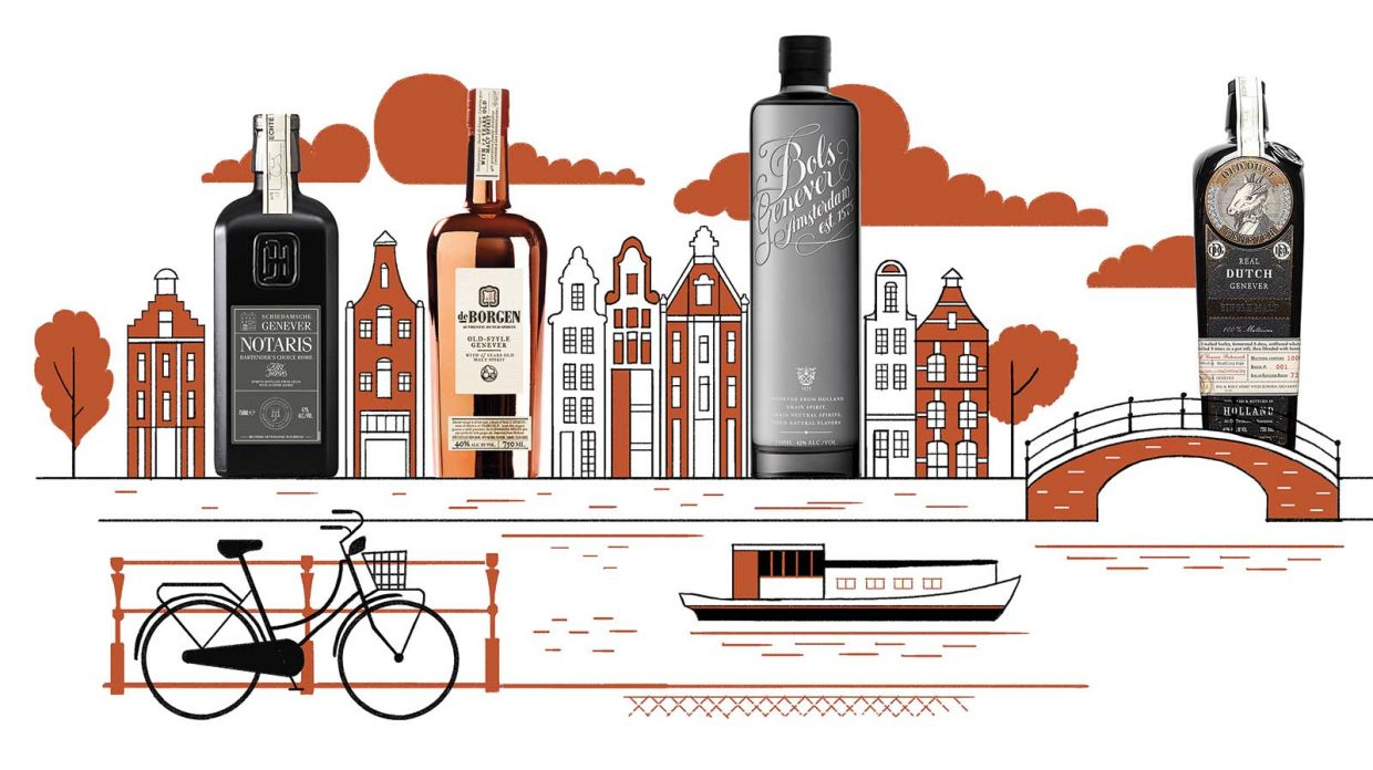 Different varieties of Dutch genever, which combines neutral grain spirit with malt wine, appear in an illustration of buildings along the bank of a river in an ostensibly quaint Dutch town, with a boat gliding along the water's surface and a bicycle parked next to a fence along the river's edge in the foreground.