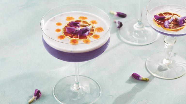 Butterfly Pea Whiskey Sour [Cocktail Recipe]