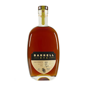 A bottle of Barrell Rye (Batch 003).