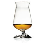 The Túath Irish Whiskey Glass has an angled stem that is comfortable for the thumb and is shown containing about an ounce of whisky.