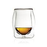 The Norlan Whisky glass has a double-walled glass exterior, and is shown holding about an ounce of whisky.